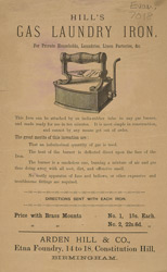 Advert For Hill's Gas Laundry Iron